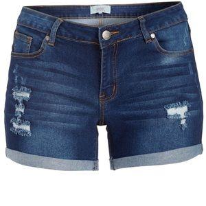 Dark Blue Distressed Denim Shorts Z1